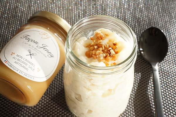 Riz au lait et pointe de caramel au beurre salé
